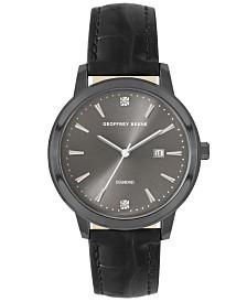 Geoffrey Beene Black Chroco Strap Genuine Diamond Sail Watch