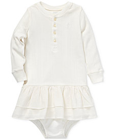 Polo Ralph Lauren Baby Girls Ruffled Long-Sleeve Cotton Dress