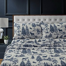Mountain Toile Heavyweight Cotton Flannel Printed King Pillow Pair