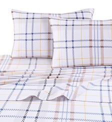 Tribeca Living Modern Plaid Luxury Extra Deep Pocket Flannel Cal King Sheet Set