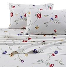 Flannel Floral Garden 170-GSM Cotton Extra Deep Pocket Printed Cal King Sheet Set