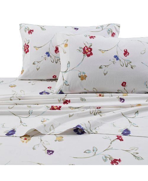 Tribeca Living Flannel Floral Garden 170-GSM Cotton Extra Deep Pocket Printed Cal King Sheet Set