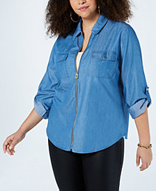 MICHAEL Michael Kors Plus Size Chambray Zip-Up Top