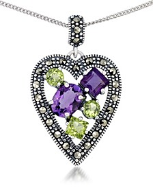 "Amethyst (1-5/8 ct. t.w.) & Peridot (1-1/3 ct. t.w.) Marcasite Heart Pendant on 18"" Chain in Sterling Silver"