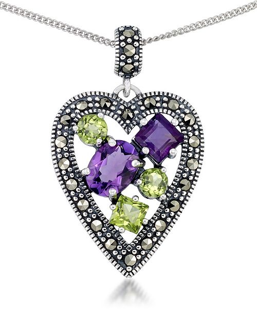 """Macy's Amethyst (1-5/8 ct. t.w.) & Peridot (1-1/3 ct. t.w.) Marcasite Heart Pendant on 18"""" Chain in Sterling Silver"""