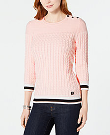 Tommy Hilfiger Cotton Tipped Cable-Knit Sweater, Created for Macy's
