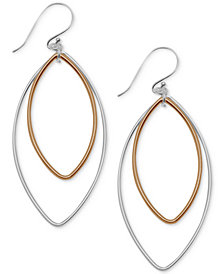 Essentials Marquise Two-Tone Drop Earrings in Silver- & Gold-Plate