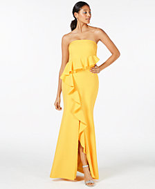 Vince Camuto Strapless Jacquard Gown