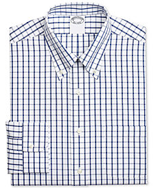 Brooks Brothers Men's Regent Classic/Regular-Fit Non-Iron Blue Windowpane Supima® Cotton Dress Shirt