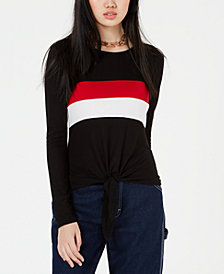 Polly & Esther Juniors' Striped Tie-Front Top