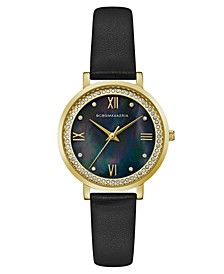 Ladies Black Leather Strap Watch with Dark MOP Dial, 33mm