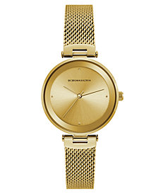 BCBG MaxAzria Ladies Gold Tone Mesh Bracelet Watch with Gold Dial, 33MM