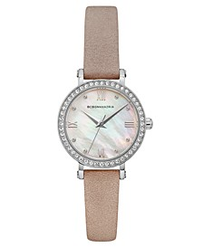 Ladies Pink Leather Strap Watch with Light MOP Dial, 30mm