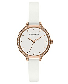 Ladies White Leather Strap Watch with White Dial and Rose Gold Case, 34mm