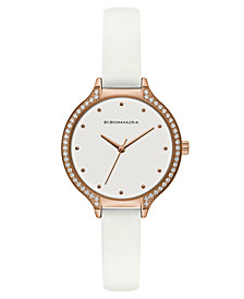 BCBG MaxAzria Ladies White Leather Strap Watch with White Dial and Rose Gold Case, 34MM