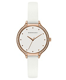 BCBGMAXAZRIA Ladies White Leather Strap Watch with White Dial and Rose Gold Case, 34mm