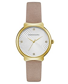 Ladies Beige Leather Strap Watch with White Wave Textured Dial, 32mm