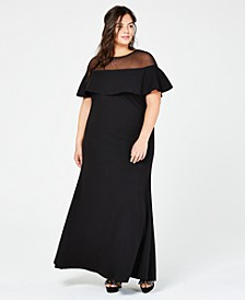 Plus Size Illusion Popover Gown