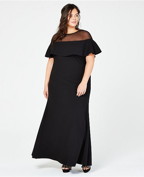 Calvin Klein Plus Size Illusion Popover Gown