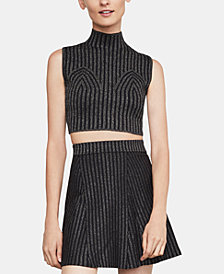 BCBGMAXAZRIA Cropped Mock-Neck Top