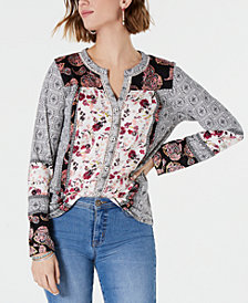 Style & Co Printed Collarless Shirt, Created for Macy's