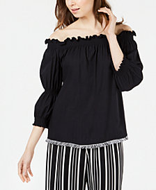 Trina Turk Ragtime Off-The-Shoulder Peasant Top