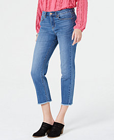 Style & Co High-Rise Cropped Frayed-Cuff Jeans, Created for Macy's