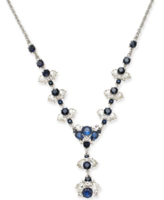 """Silver-Tone Crystal & Stone Lariat Necklace, 17"""" + 2"""" extender, Created for Macy's"""