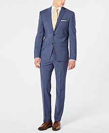 Men's Modern-Fit Stretch Blue Mini-Check Suit Separates