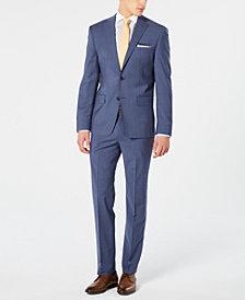 DKNY Men's Modern-Fit Stretch Blue Mini-Check Suit Separates