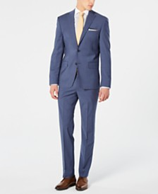 DKNY Men's Modern-Fit Stretch Blue Mini-Check Suit Separates