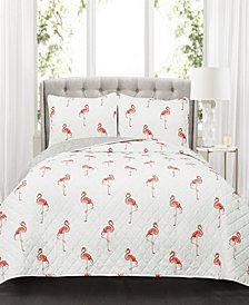 Kelly Flamingo 3-Pc Set King Quilt Set