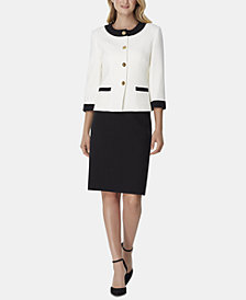 Tahari ASL Contrast-Trim Skirt Suit