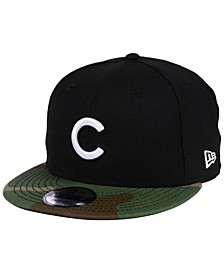 Chicago Cubs Woodland Black/White 9FIFTY Snapback Cap