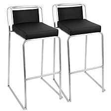 Cascade Stackable Barstool in Faux Leather Set of 2