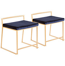 Lumisource Fuji Stackable Dining Chair in Gold Metal and Velvet Set of 2
