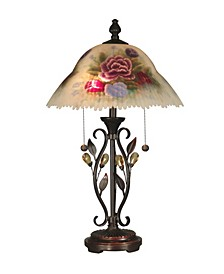 Hand Painted Crystal Leaves Table Lamp