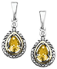 14k Gold and Sterling Silver Earrings, Citrine (3/4 ct. t.w.) and Diamond Accent Teardrop Earrings