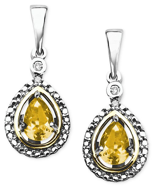 Macy's 14k Gold and Sterling Silver Earrings, Citrine (3/4 ct. t.w.) and Diamond Accent Teardrop Earrings