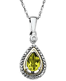 14k Gold and Sterling Silver Necklace, Peridot (3/4 ct. t.w.) and Diamond Accent Teardrop Pendant
