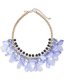 "I.N.C. Gold-Tone Blue Petal Statement Necklace, 17"" + 3"" Extender, Created for Macy's"