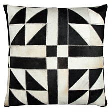 """Rizzy Home 20"""" x 20"""" Geometric Pattern Sewn in Genuine Fur Pillow Cover"""
