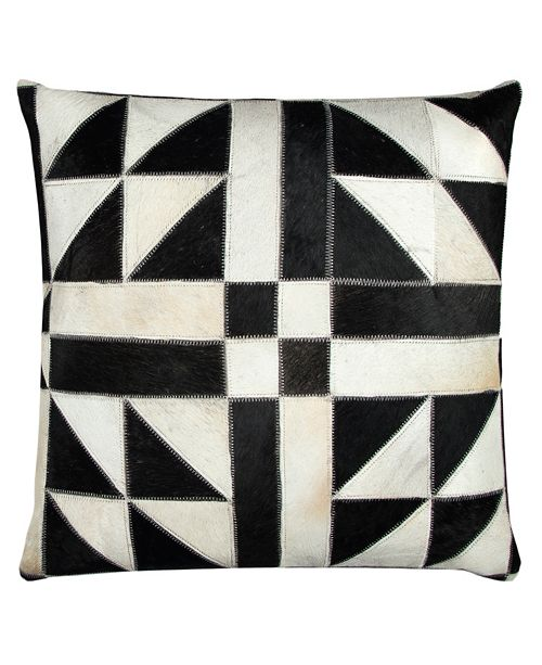 "Rizzy Home 20"" x 20"" Geometric Pattern Sewn in Genuine Fur Pillow Cover"