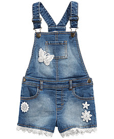 Epic Threads Little Girls Embroidered Denim Shortalls, Created for Macy's