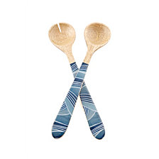 Thirstystone 2pc Wood & Enamel Salad Servers