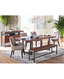 Everly Dining Furniture, 6-Pc. Set  (Table, 4 Square Back Side Chairs, & Bench), Created for Macy's