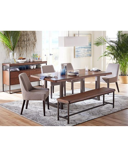 Groovy Everly Dining Furniture 6 Pc Set Table 4 Square Back Side Chairs Bench Created For Macys Pdpeps Interior Chair Design Pdpepsorg
