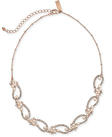 """I.N.C. Rose Gold-Tone Crystal & Imitation Pearl Openwork Collar Necklace, 17"""" + 2"""" extender, Created for Macy's"""