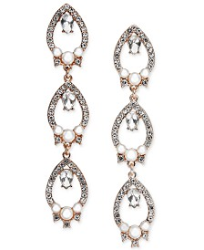 I.N.C. Rose Gold-Tone Crystal & Imitation Pearl Openwork Linear Drop Earrings, Created for Macy's