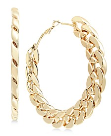 Gold-Tone Chain Link Large Hoop Earrings , Created for Macy's